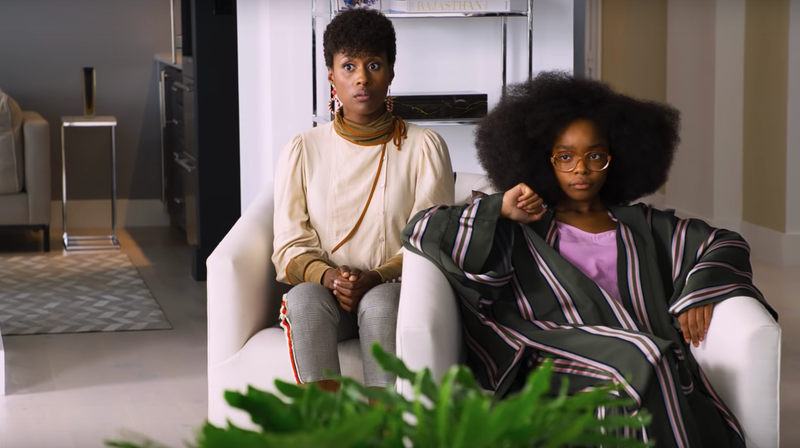 Jordan (Marsai Martin, at right) discovers the pains of being a tween again.