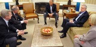 President Barack Obama met Saturday with Senate Democratic leaders at the Oval Office. (Mandel Ngan/AFP/Getty Images)