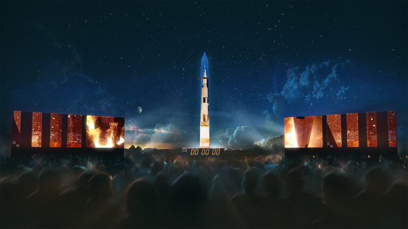 Artist's rendering of the Washington Monument projection of a Saturn V rocket that will take place next week