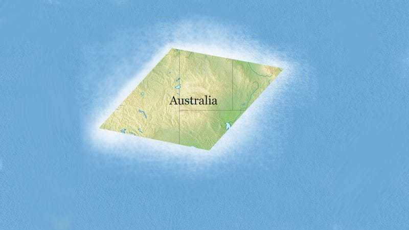 Illustration for article titled Cartographers, Rejoice! Rising Ocean Levels Are On Track To Turn Australia Into An Easy-To-Draw Rhombus
