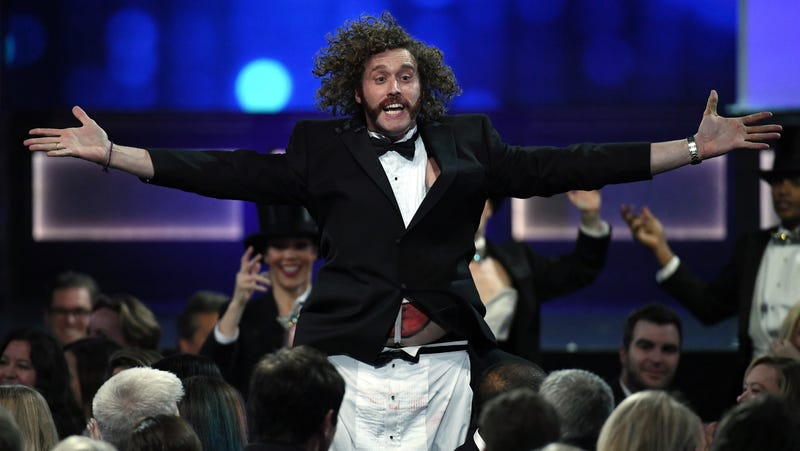 """Illustration for article titled T.J. Miller claims he's not a bully, just a """"benevolent benign maniac"""""""
