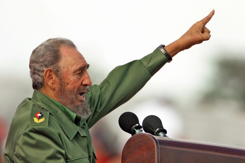 Former Cuban President Fidel Castro speaks during the May Day ceremony in Havana in 2006.ADALBERTO ROQUE/AFP/Getty Images