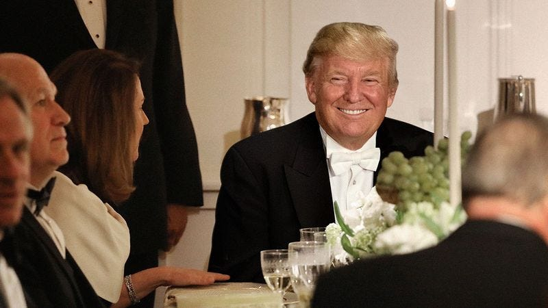 Illustration for article titled Cackling Trump Reveals To Dinner Guests They've All Just Eaten Single Piece Of His Tax Returns