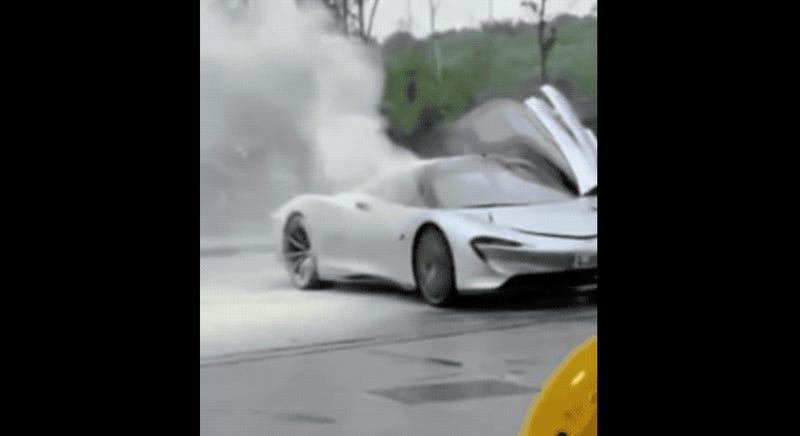 McLaren Speedtail Prototype Smokes Out at Gas Station