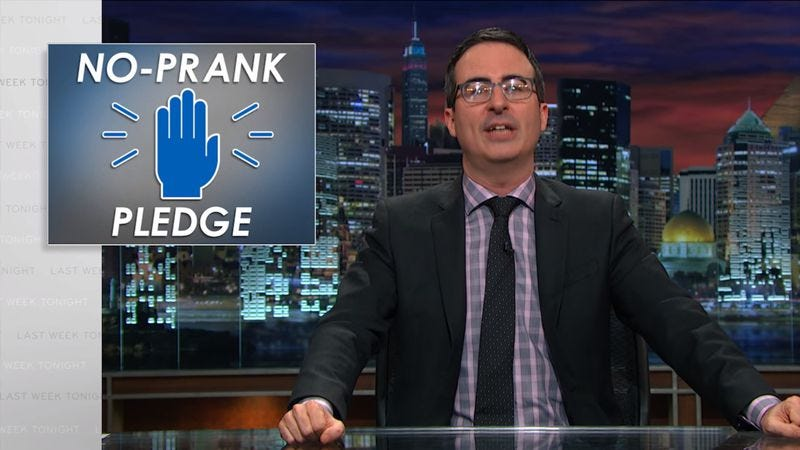 Illustration for article titled A reminder: John Oliver hates April Fools' Day too, and wants to end it