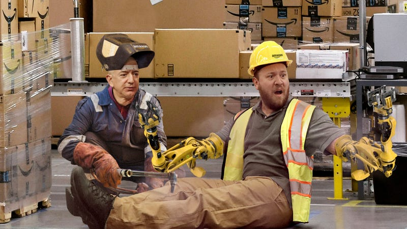 Illustration for article titled Horrified Amazon Worker Awakes From Warehouse Accident To Find Jeff Bezos Welding Mechanical Limbs Onto Stumps Where Arms Used To Be