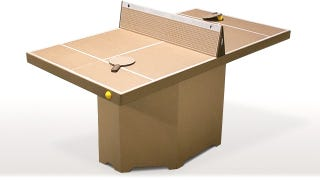 Illustration for article titled Cardboard Table Tennis Folds Down Into a Portable Cardboard Suitcase