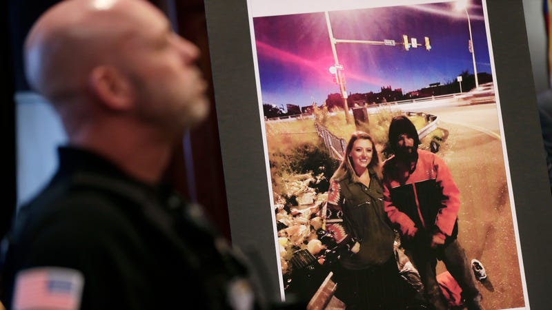 A picture of Katelyn McClure and Johnny Bobbitt Jr. is displayed during a news conference in Mt. Holly, N.J., Thursday, Nov. 15, 2018.