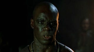 In Pirates of the Caribbean: The Curse of the Black Pearl, the ship's crew included two men of color: Bo'sun (seen above), played by African-American actor Isaac C. Singleton Jr., and Koehler, played by the black English actor Trevor Etienne.Screenshot from Pirates of the Caribbean: The Curse of the Black Pearl