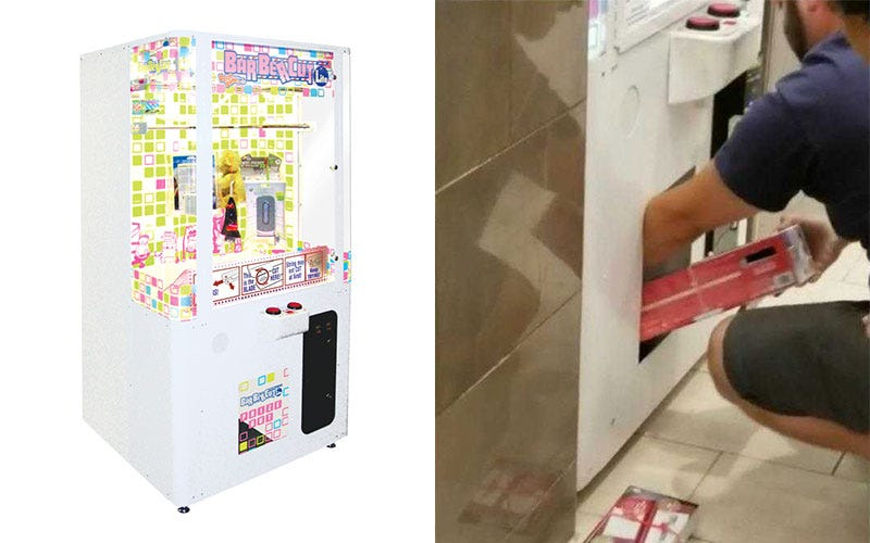 Left: a BarberCut Lite cabinet | Right: an image of the man being passed a Nintendo Switch by his daughter.