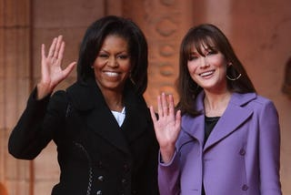 Michelle Obama and Carla Bruni-Sarkozy in Strasbourg, France, April 2009.(Sean Gallup/Getty Images)