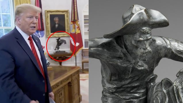 Trump Misidentifies Sculpture in Oval Office While Saying Statues Help Teach History
