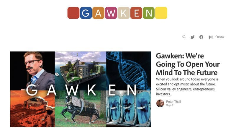 The Gawken homepage, not to be confused with the lawsuit-attracting Gawker homepage.