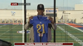 Cordell Broadus, son of rapper Snoop Dogg, announces on Feb. 4, 2015, that he will play football at UCLA.ESPNU screenshot