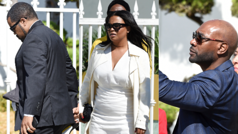 (L-R):  Ice Cube, Nia Long, and Morris Chestnut, all cast members in director John Singleton's 1991 debut film Boyz n the Hood,  arrived at a memorial service for Singleton at Angelus Funeral Home, Monday, May 6, 2019, in Los Angeles.