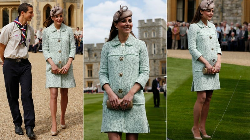 Illustration for article titled Kate Middleton Dresses the Royal Bump in a Minty Fresh Coat