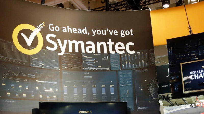 A presentation is made in the Symantec booth during the RSA Conference on in San Francisco, on Wednesday, April 22, 2015.