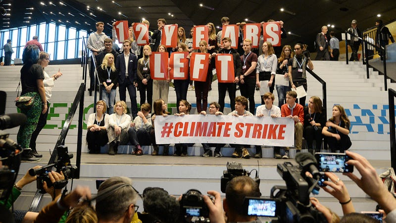 Students on a climate strike at the United Nations climate talks in Poland.