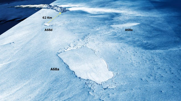 Striking 3D Satellite Images Show Shattered Iceberg A68a, Which Still Threatens a Sensitive Island