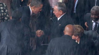 Obama shakes hands with Raul Castro, loves Hitler & Stalin