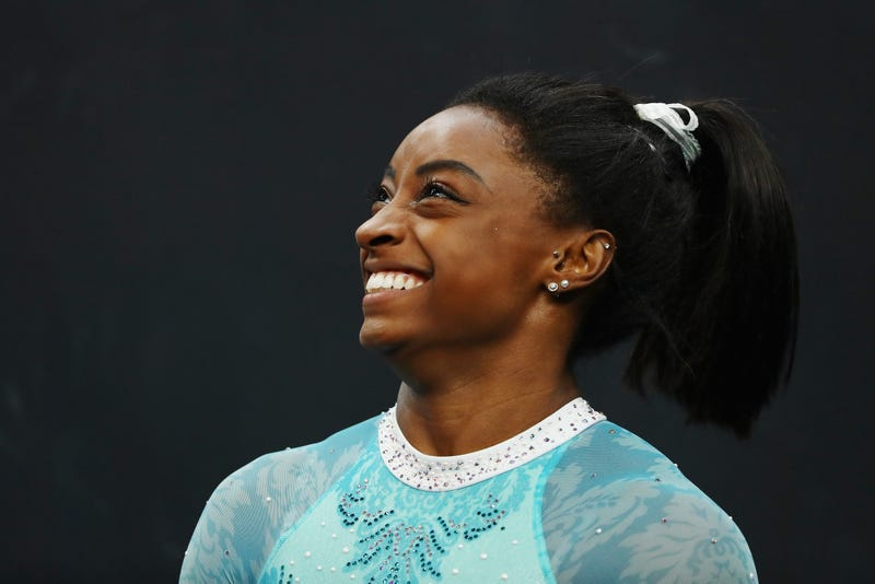 Simone Biles smiles during day four of the U.S. Gymnastics Championships 2018 at TD Garden on August 19, 2018 in Boston, Massachusetts.
