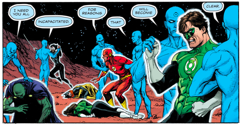 Doctor Manhattan taking out the Justice League.