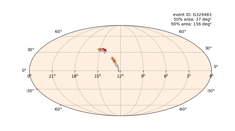 Potential location in the sky of the April 12 black hole candidate event.