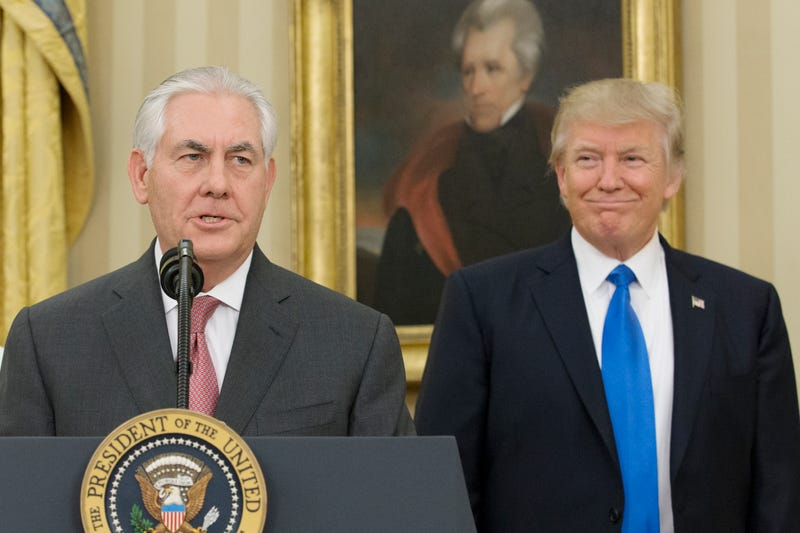 Rex Tillerson delivers remarks after being sworn in as 69th secretary of state as President Donald Trump looks on beneath a painting of populist President Andrew Jackson in the Oval Office of the White House on February 1, 2017 in Washington, DC. Tillerson was confirmed by the Senate earlier in the day in a 56-43 vote.