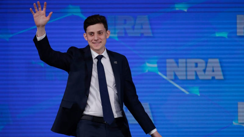 In this April 26, 2019 file photo, Kyle Kashuv, a survivor of the Parkland, Fla., high school shooting, speaking at a National Rifle Association forum in Indianapolis, April 26, 2019. On June 17, 2019, Kashuv said that Harvard University revoked his acceptance over racist comments he made online and in text messages about two years ago.