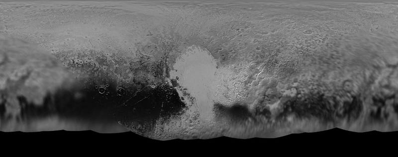 NASA's latest map of Pluto was meticulously stitched together from all images received from New Horizons to date (Image NASA/JHUAPL/SwRI).