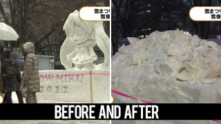 Illustration for article titled Virtual Idol's Snow Sculpture Injured Elderly Lady for Real