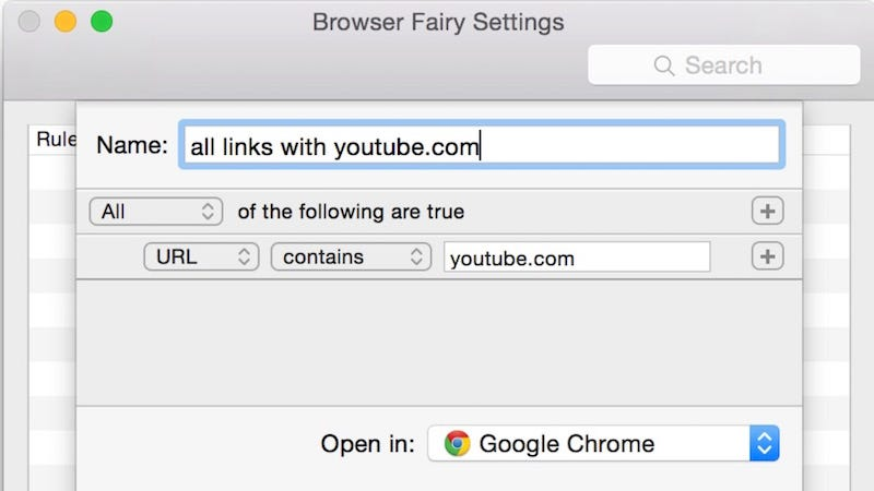 Illustration for article titled Browser Fairy for Mac Sets Rules for Which Links Open in Which Browser