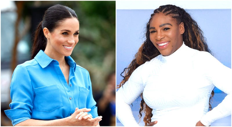 (l-r) Meghan, Duchess of Sussex on October 26, 2018 in Nuku'alofa, Tonga; Serena Williams visits Beautycon POP in Los Angeles on December 02, 2018 in Los Angeles, California.