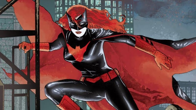 Batwoman making a decidedly dramatic entrance.