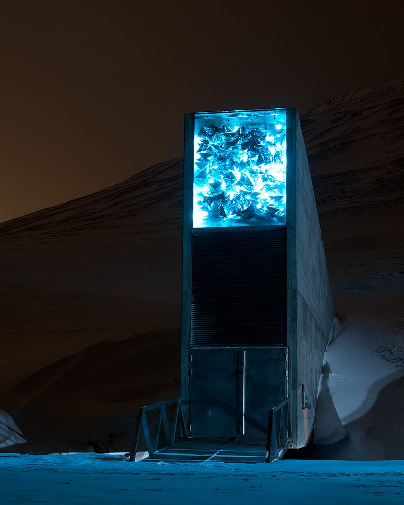Illustration for article titled The Doomsday Svalbard Seed Vault looks like a magic portal at night