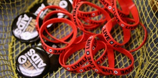 HIV/AIDS-awareness buttons and bracelets (Chip Somodevilla/Getty Images)