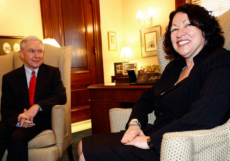 Sotomayor and Sen. Jeff Sessions. Getty Images/Win McNamee