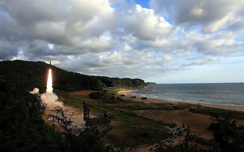 In this handout photo released by the South Korean Defense Ministry, South Korea's missile system fires a Hyunmu-2 missile into the East Sea during a drill aimed to counter North Korea's missile fires on Sept. 15, 2017, in East Coast, South Korea. (South Korean Defense Ministry via Getty Images)