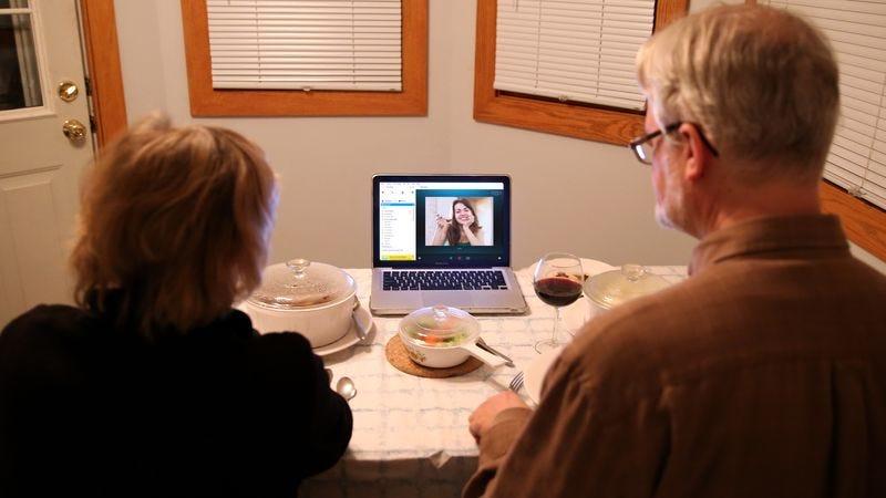 A family talking via Skype.