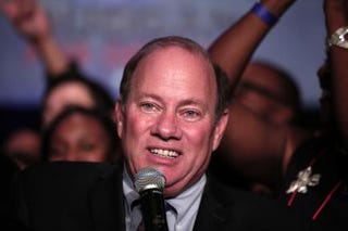 Mike Duggan celebrates his election as the new mayor of Detroit, Nov. 5, 2013  Bill Pugliano/Getty Images