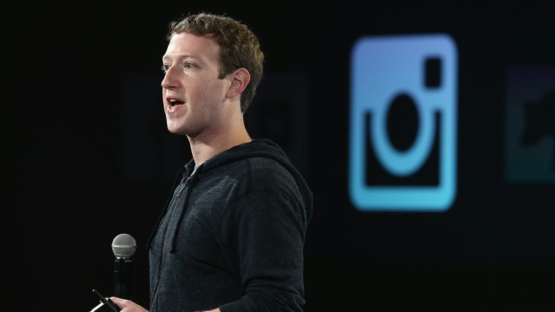 Mark Zuckerberg talking about Instagram at a press event at Facebook headquarters in 2013