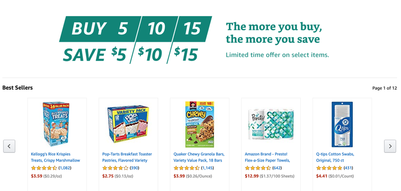 $5 off five, $10 off 10, or $15 of 15 Select Prime Pantry Items | Amazon