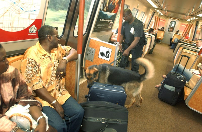 Metropolitan Atlanta Rapid Transit Authority Police Officer Paris Swinson searches for explosives with his bomb-sniffing dog, Haro, on the North Line on July 7, 2005 (Barry Williams/Getty Images)