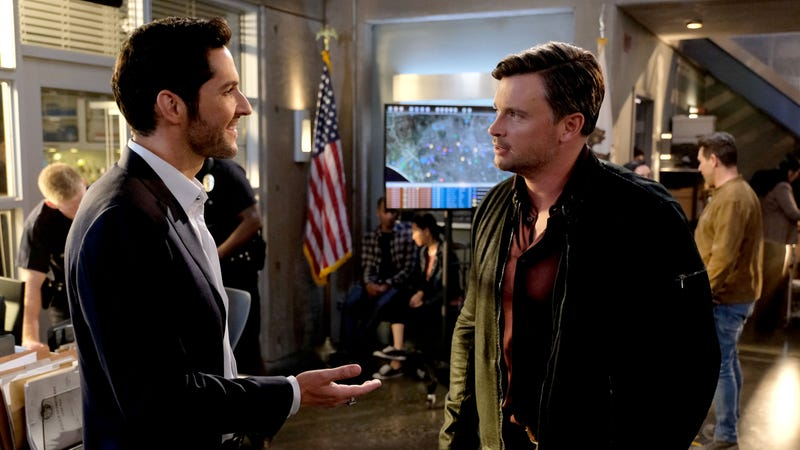 Lucifer (Tom Ellis) and Marcus Pierce (Tom Welling) on the season three premiere of Lucifer. Image: Fox