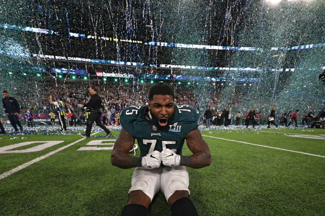 Vinny Curry, No. 75 of the Philadelphia Eagles, celebrates after defeating the New England Patriots 41-33 in Super Bowl LII at U.S. Bank Stadium on Feb. 4, 2018, in Minneapolis.