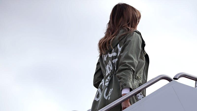 First lady Melania Trump boards an Air Force plane before traveling to Texas to visit facilities that house and care for children taken from their parents at the U.S.-Mexico border June 21, 2018, at Joint Base Andrews, Md.