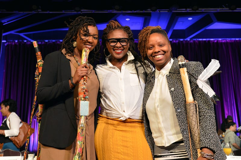 #BlackLivesMatter co-founders Opal Tometi, Alicia Garza and Patrisse Cullors appear onstage during a breakfast honoring them by the New York Women's Foundation  on May 14, 2015, in New York City.Slaven Vlasic/Getty Images fot The New York Women's Foundation