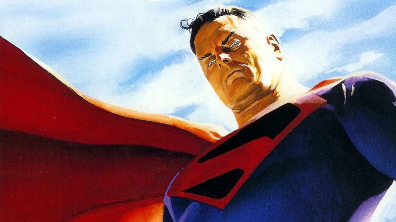 Superman, looking down.