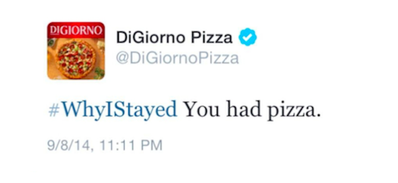 Illustration for article titled DiGiorno Crashes Discussion on Domestic Violence With Pizza Joke