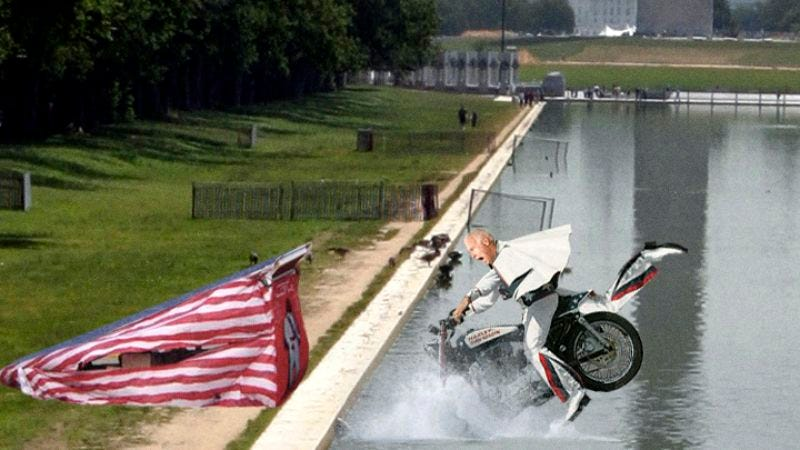 Vice President Biden's 2009 attempt to jump the Lincoln Memorial Reflecting Pool was not executed according to plan.